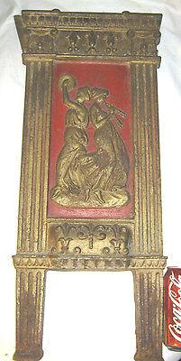 Antique Cast Iron Art Nouveau Nude Lady Bust Movie Theater Plaque Garden Panel 9
