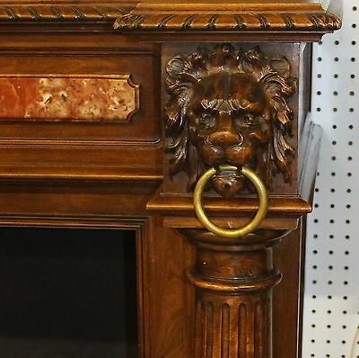 Antique Louis XVI Walnut French Fireplace Mantle Carved Lions w/ Original Clock 6