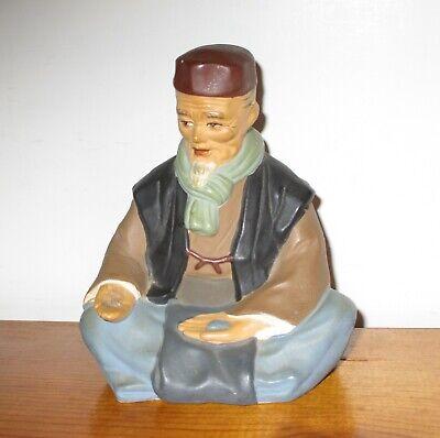 Hakata Urasaki Doll Figurine Handmade Old Man Sitting Holding Food 3