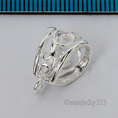 1x STERLING SILVER BRIGHT FLOWER SLIDE BAIL PENDANT CLASP CONNECTOR  #2615 2