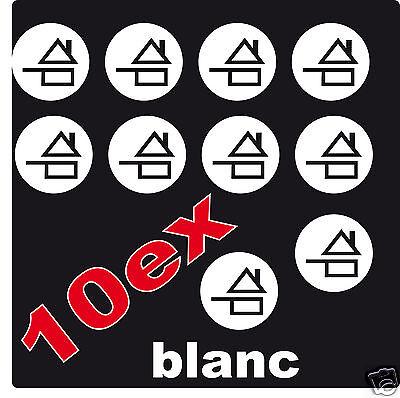 FAIT-MAISON 10 petits autocollants adhésif 3 cm BLANC