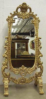 Antique Style Country French Beveled Glass Hand Carved Cheval Mirror Baroque 6ft