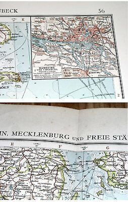 1907 Antique Map Of Schleswig-Holstein Mecklenburg Hamburg Germany Denmark 4