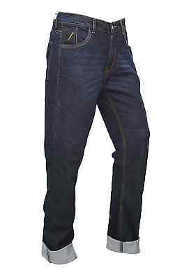 Mens motorcycle armour TROUSER JEANS ENGINEERED BLUE protective lining slim fit 3