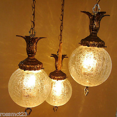Vintage Lighting 1960s Hollywood Regency tri-globe chandelier   Extraordinary 4
