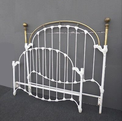 Vintage French Shabby Chic Cast Iron White Full Bed Frame Queen Headboard 2