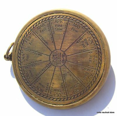 Lot Of 10Pc Vintage Sundial Clock Keychain Antique Brass Maritime Key-Ring Gift 6