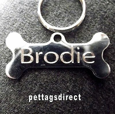 POLISHED DOG BONE Design Pet Id tag + 20mm Split Ring CLEAR Engraved FINISH 42mm 3