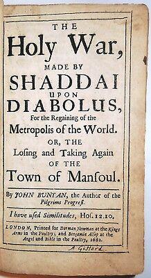 1682 JOHN BUNYAN THE HOLY WAR 1ST-ED Pilgrim's Progress Bible Puritan  Antique
