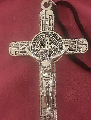 "LRG 3 1/8"" Sterling Silver Filled Modern St Benedict Crucifix Cross New Pendant 4"