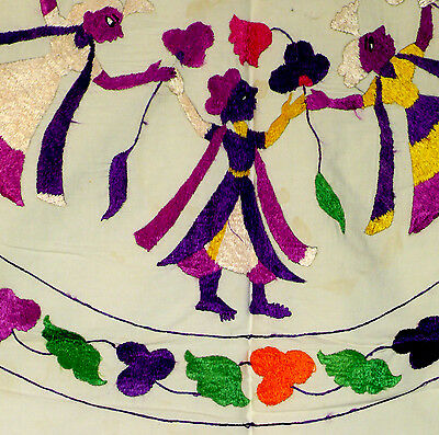 Coverlet, folk silk embroidery, rumal, Chamba Valley, India 4