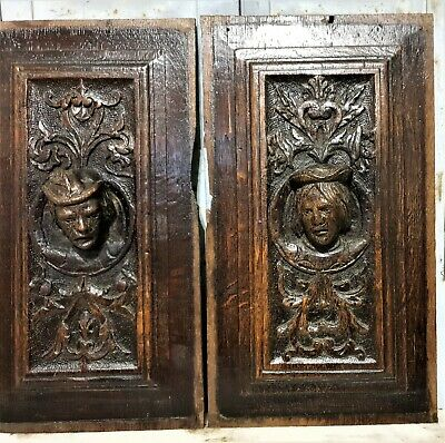16 th Pair renaissance portrait panel Antique french oak architectural salvage 5