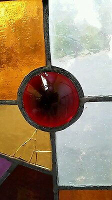 Antique Eastlake Victorian stained glass window. 8