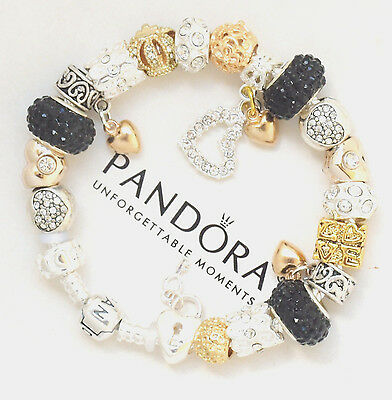 Authentic Pandora Charm Bracelet Silver with Black Gold Hearts European Charms 4