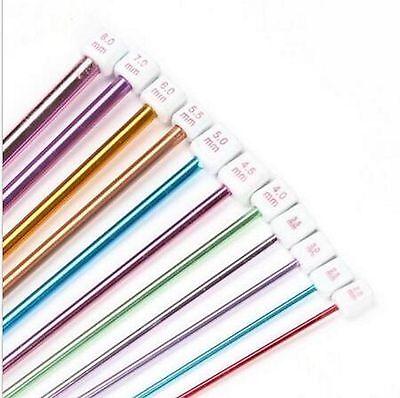 "11Pcs 10.6"" 2-8mm Colourful Aluminum AFGHAN TUNISIAN Crochet Hook Knit Needles"