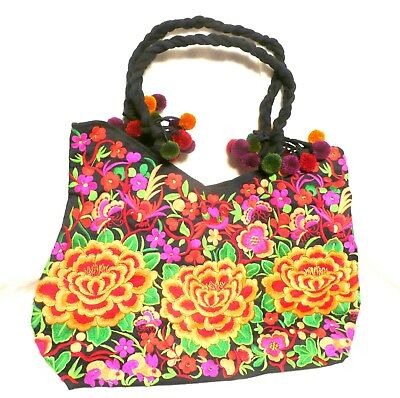 Hand Made Woman Flower Embroidery Ethnic Retro Large Shoulder Bag Purse ToteBag 5