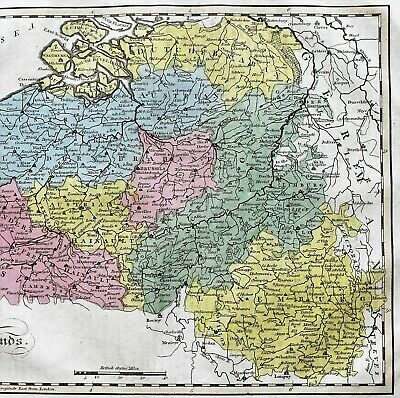 1815 Netherlands Map Austria Flanders Luxemburg Dutch Brabant EX- RARE ORIGINAL 3