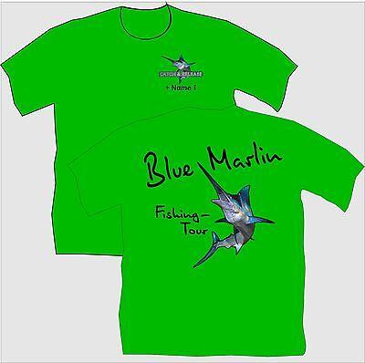 Anglershirt Angler T-Shirt Blue Marlin Angeln Fangen Bekleidung Übergrößen 144