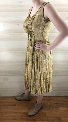 Vintage 40s 50s Yellow Full Skirt Geometric Cotton Casual Party Dress S M 7