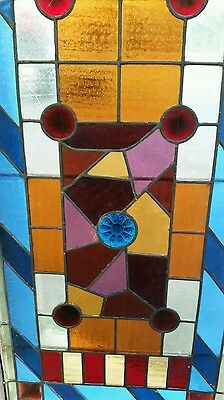 Antique Eastlake Victorian stained glass window. 10
