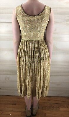 Vintage 40s 50s Yellow Full Skirt Geometric Cotton Casual Party Dress S M 9