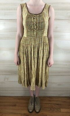 Vintage 40s 50s Yellow Full Skirt Geometric Cotton Casual Party Dress S M 3