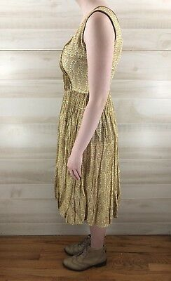 Vintage 40s 50s Yellow Full Skirt Geometric Cotton Casual Party Dress S M 8