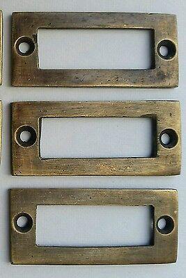 """6 antique vintage brass file cardholder label holder 2 3/16"""" x 1"""" #F3 2"""