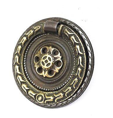 Hepplewhite Empire Federal Brass round antique hardware drawer pull ring pull 2