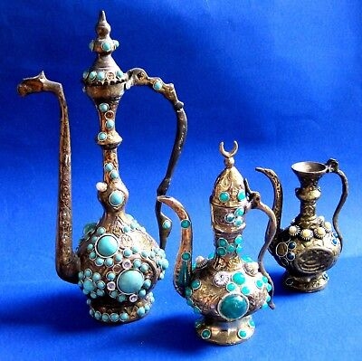 TURKISH ORNAMENTAL BRONZE & BRAS /  Kettle & PLASTIC ORNAMENTAL LOT OF 3 5