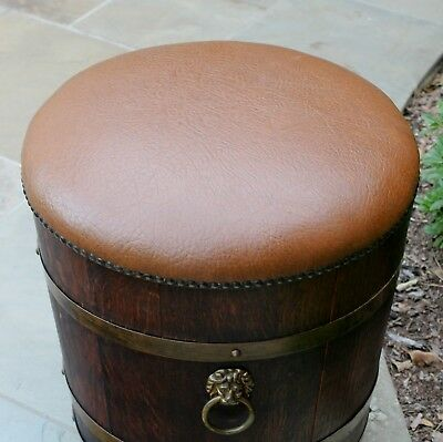 Antique English Oak BARREL Planter Garden Flower Box Ottoman Stool Gothic Lions