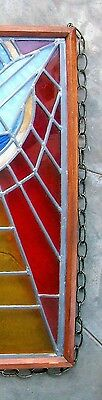 Vintage Church Stained Glass Window Salvage Bird Leaded HOLY SPIRIT DOVE Peace 9