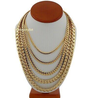 Mens Miami Cuban link Chain Necklace Bracelet 14K Gold Plated 2