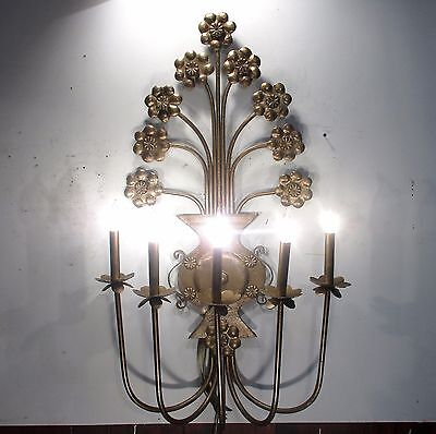 Antique Vintage Sconce Large 5 Light Ornate Light Floral Unique 3