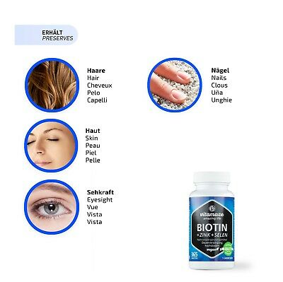 Biotin hochdosiert 10mg + Selen + Zink für gesunde Haut, Haare, Nägel Vitamin B7