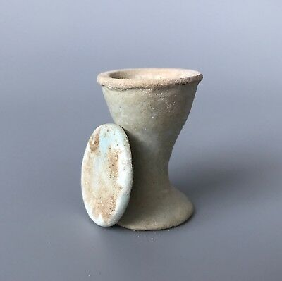 RARE Ancient Egyptian Blue - Green Glazed Faience Offering Cup With Lid 2