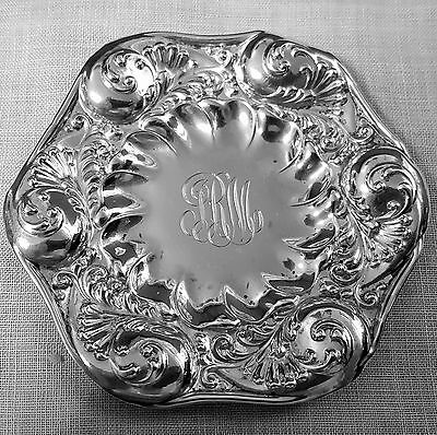 5 Gorham repousse butter pats foliate design 1892 in sterling silver 2