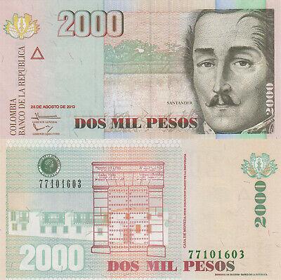 Pick 457q UNC COLOMBIA 2000 Pesos 17.08.2012