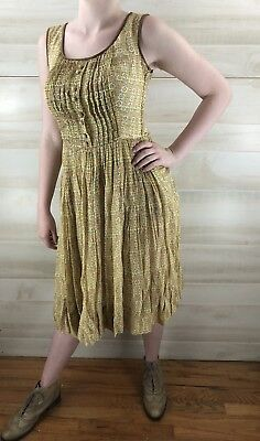 Vintage 40s 50s Yellow Full Skirt Geometric Cotton Casual Party Dress S M 4