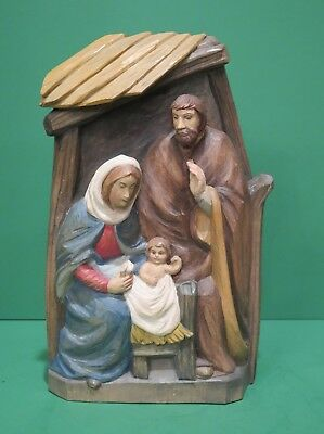 Oberammergau Germany Wood Carved Figurine Holy Family Mary Joseph Baby Jesus 718 18 Picclick Uk