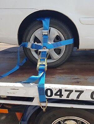 4 x Car Carrying Ratchet Tiedown Trailer  Car Wheel Harness Tow truck Restraint 4