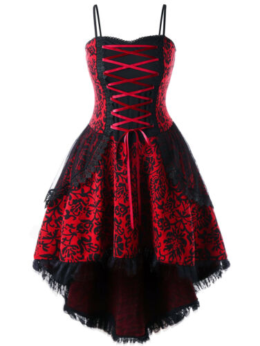 PLUS SIZE GOTHIC Victorian Style Steampunk Dress Women Party Corset Swing  Dress