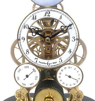 24K Vienna Style Pinwheel Moon Dial Calendar 8 Day Fusee Chain Skeleton Clock 8