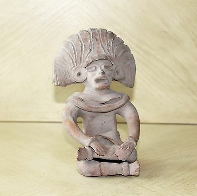 Vintage Art Pottery Pre-Columbian Male Sitting Figurine Statue Clay Old 2