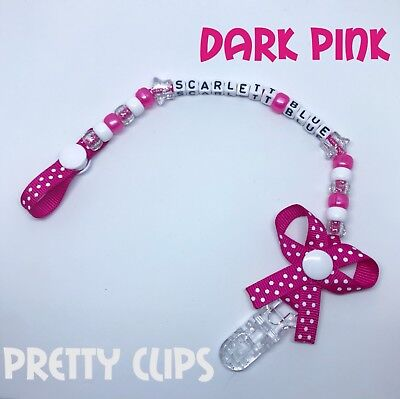 Personalised Bow Dummy Clip.. Any Name.. Any Colour.. Perfect Gift 4