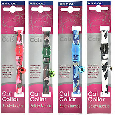 Ancol Camouflage Cat Collar 4 Pack Deal (Green, Black/White, Pink, Blue) 3