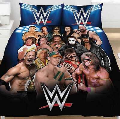 WWE Legends Double Duvet Quilt Cover Bed Set Warrior Rock Cena Boys Fans Gift 2