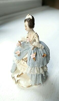 Delicate Antique Akerman & Fitze German Dresden Lace Gown Figurine #1964 Signed 7