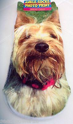 Brown WOLF/ HUSKY DOG Trainer 3D Photo SOCKS UK 3-7 1pr Cotton Blend UK Seller 4