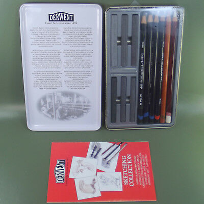 Derwent 12 Sketching Collection Tin Mixed Media No 34305 Made In UK 3
